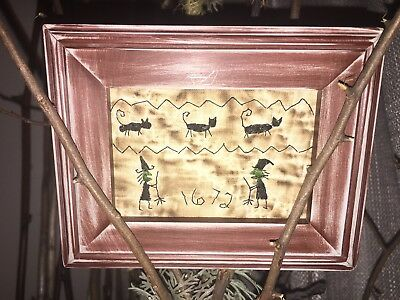 "PriMitivE WitcHeS & CaTs ""1672"" TinY SaMpler OLD QuiLt"