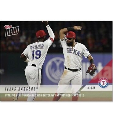 c15e7ddbff1 2018 Topps NOW MLB 603 Texas Rangers Triple Play Batter Not Retired Since  1912