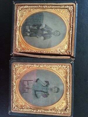"""Antique Ambrotype pictures Brother & Sister  3&1/2"""" Holder"""