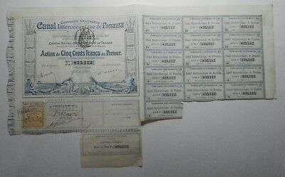 Canal Interocéanique De Panama 1880 Blue French Old Bond Rare Bottom Coupons