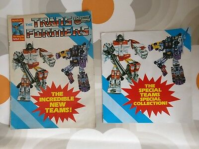 TRANSFORMERS #63 MARVEL UK COMIC 1986 WITH FREE GIFT & 6 of the Collector Cards!