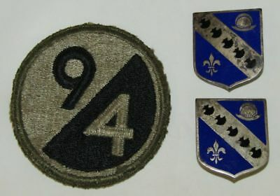 3pcs-WW2 U.S. 94th Division Patch-Pr. 302nd Inf. Regt. Insignia-Sterling