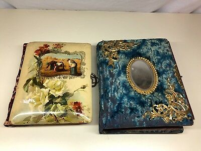 Old Vtg Antique Felt Hard Plastic Color Photo Picture Album LOT of 2