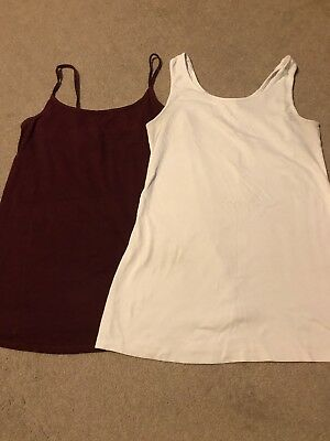 Next Maternity Vest Tops White And Maroon Size 12