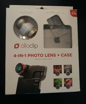 New Olloclip iPhone 5 5s - 4 In 1 Lens + Quick Flip White Case Silver White Lens