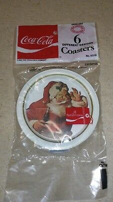 Six 1983 Ohio Art Metal COCA COLA Coasters Santa Claus Christmas Sealed Bag