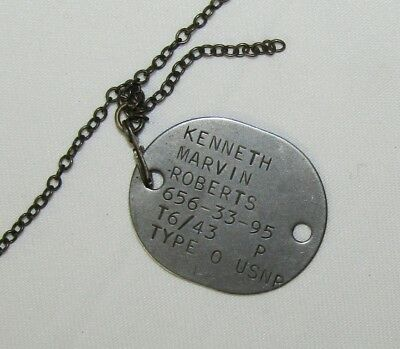 Single WW2 US Navy Reserve Dog Tag W/Sterling Chain-Kenneth M. Roberts T6/43