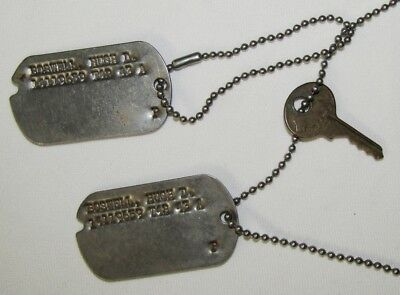 Pr. WW2 US Soldier's Dog Tags W/Bead Chain-Hugh D. Boswell T42-43