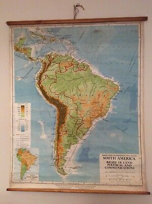Vintage Roll Up Wall Map Of South America