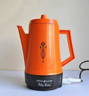 1970's Vintage Retro GENERAL ELECTRIC Poly-Brew Electric Coffee Pot/Percolator