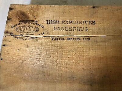 Vtg Antique DuPont Explosives Red Cross Dynamite dovetail wood crate box lid
