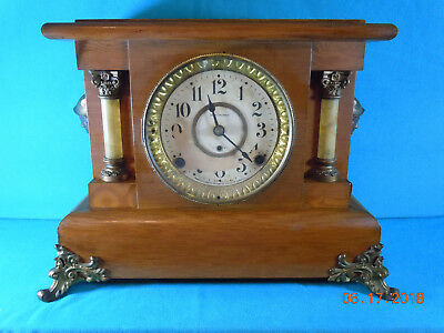 "Seth Thomas Mantle Clock ""Amstel"" in Oak Adamantine 8-Day T&S c.1904"