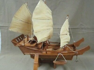Large Chinese Vintage Mid Century Carved Wooden Sampan Junk Boat Model Excl.
