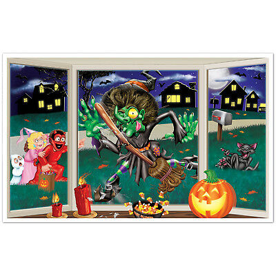 Halloween Crashing Witch Backdrop Window Wall Banner Prop Silly Fun Decoration 8 95 Picclick