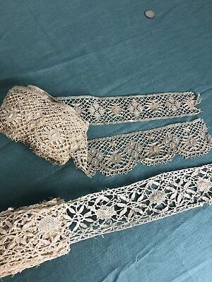 Antique Victorian Schiffli Lace Collar White Stand Up Collar with Yoke