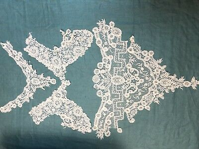 Antique Brussels Duchesse Mixed Lace 3 pcs Creamy White Beaded Trim
