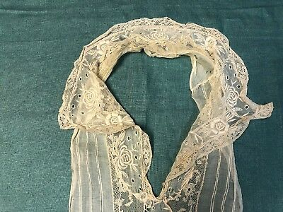Antique Embroidered Batiste and French Lace Collar with Attached Yoke