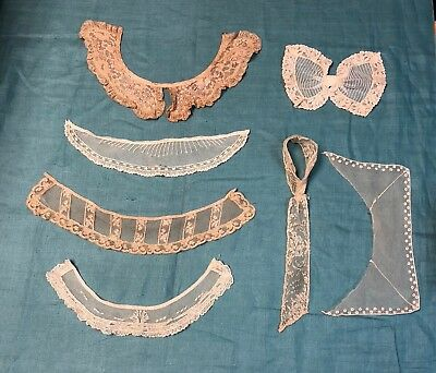 Antique Net Lace Collars Cuff Bow Jabot   Lot 7 pcs   Pearls Ruffles French Lace