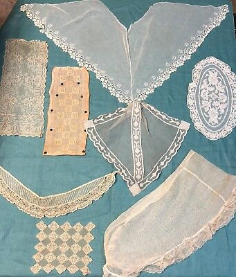 7 pc Lot Antique Embroidered Net Lace Collars Yokes Doilies