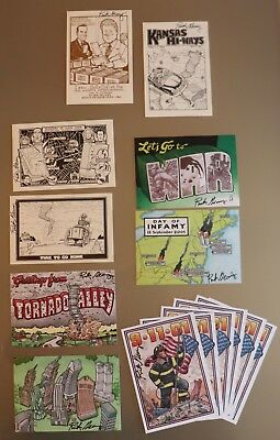 (14) Rick Geary Postcards Some Signed - Political, 9/11, O.J. Simpson, Tornados