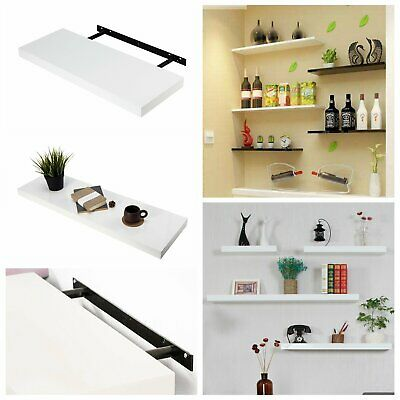 60cm High Gloss Floating Wall Hanging Storage Decor Display Shelf Shelves White