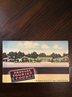 Grenada Tourist Court At Junction On U.S. 51 - State 7 And 8 Mississippi PC