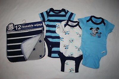 Baby Boys 3 LOT BODYSUIT T-SHIRTS Blue Stripes PUPPY DOGS Reusable Wipes PREEMIE