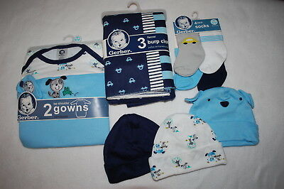 Baby Boys 12 PC LOT Socks Hats Gowns Burp Cloths BLUE STRIPE Puppy Dogs 0-6 MO