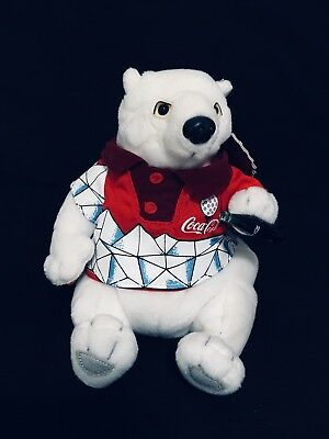Coca Cola Polar Bear Collectible Bean Bag Plush 1999 With Golf Shirt Coke