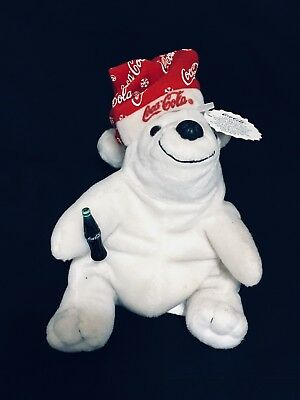 Coca Cola Polar Bear Collectible Bean Bag Plush 1998 With Red Santa Hat Coke