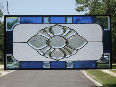 """• Never More •Beveled Stained Glass Window Panel •28 3/4"""" x 14 3/4"""" (73x37.5cm)"""