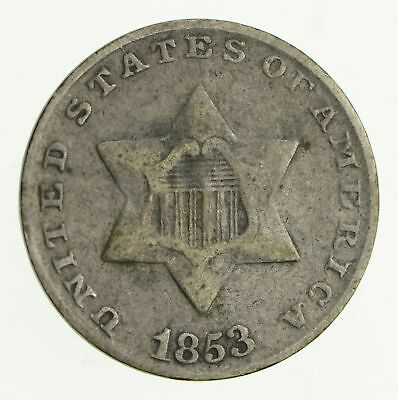 RARE Silver Trime - 1853 Three Cent Silver - 3 Cent Early US Coin *809