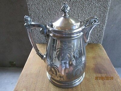 Antique Victorian silver plate presentation water pitcher, engraved