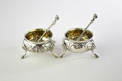 Magnificent Antique Victorian Sterling Silver Pair of Salts with Apostle Spoons