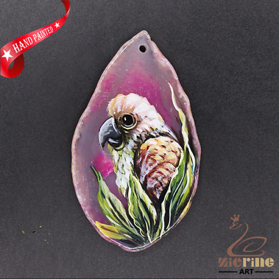 Hand Painted Bird Agate Slice Pendant Necklace D1906 0973