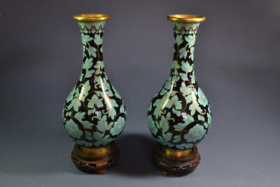 Stunning Pair of Antique or Vintage Chinese Cloisonne Vases, ex-John Barrymore