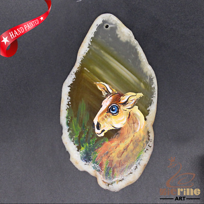 Hand Painted Deer Agate Slice Pendant Necklace D1906 0889