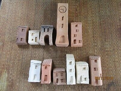 Vintage Gault style miniature clay village houses