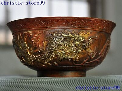 mark Old Chinese bronze gilt dynasty animal Zodiac Dragon statue bowl cup