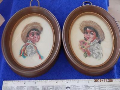 Vintage - Pair Of 2 Mexican  Children  - Oval Framed  -  Petit Point Pictures
