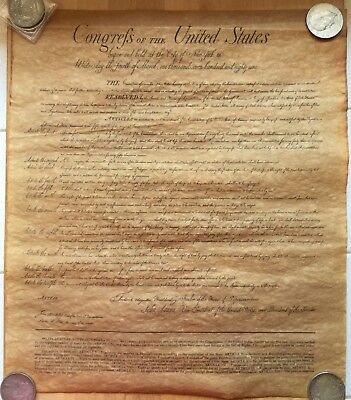 The Bill Of Rights Antiqued Parchment Paper Replica
