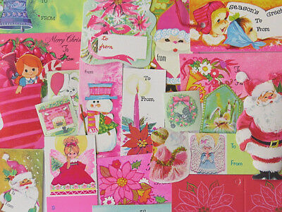 Vintage 60's 70's Christmas Gift Tag Seal Lot Cottage Chic Not Shabby Retro Pink
