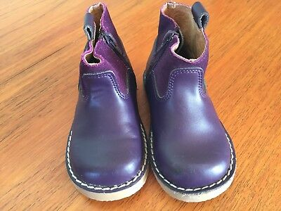 Unisex Toddler Purple Leather Walnut Zip Up Boots Size 24 Excellent Condition