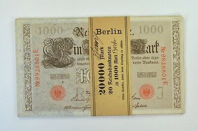 (20) Consecutive 1910 Germany 1,000 Marks Reichsbanknote #44b *8430