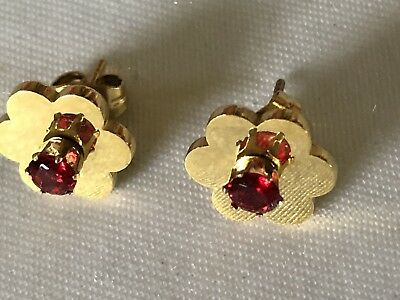 Yellow Gold Tone Prong Set Round Ruby Stones Pierced Stud Small Flowers Earrings