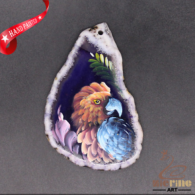 Hand Painted Parrot Jewelry Necklace Pendant Necklace D1906 0868