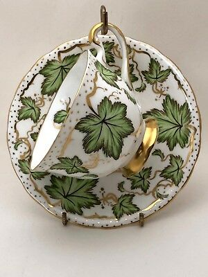 Royal Chelsea 426A Cup and Saucer Green Ivy Gold Vines and Trim Bone China 1940
