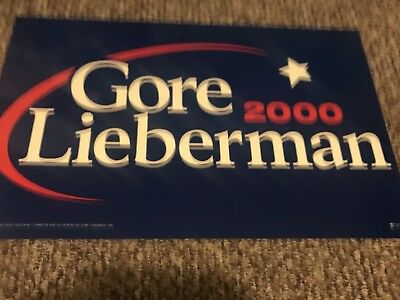 """GORE LIEBERMAN 2000 14"""" x 22"""" sign MINT Presidential campaign POSTER"""