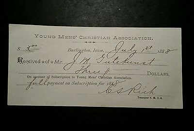 1888 Burlington Iowa YMCA receipt Paid in Full For Subscription to YMCA