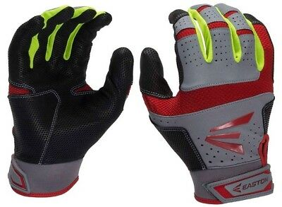 1 Pair Easton HS9 Neon Adult Small Red / Optic / Grey Batting Gloves A121838